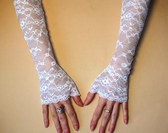 Bridal long gloves, Wedding gloves, Bridal lace gloves, Fingerless Gloves, White gloves