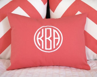 Monogram Pillow Cover - Dorm Decor - Personalized Pillow Cover - Circle Monogram - Personalized Gift - Throw Pillow Cover