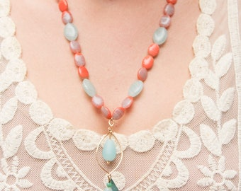 Mint and coral sea glass necklace