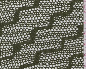 Avocado Green Wavy Stripe Stretch Lace, Fabric By The Yard
