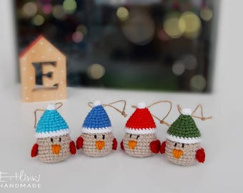 Winter bird with hat Christmas decoration gifts Xmas tree ornaments Gifts for family Gifts for coworkers Crochet stuffed robin Soft ornament