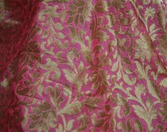 Rose Pink Brocade Fabric Banarasi Fabric, Wedding Dress Fabric, Brocade fabric by the Yard, Indian Fabric Sewing Crafting Costume fabric