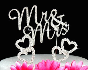 Mr and Mrs wedding Cake topper in silver Rhinestone crystals cake decoration Plus Hearts Cake picks
