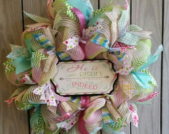 "Deco Mesh Easter Wreath ""He is Risen"""