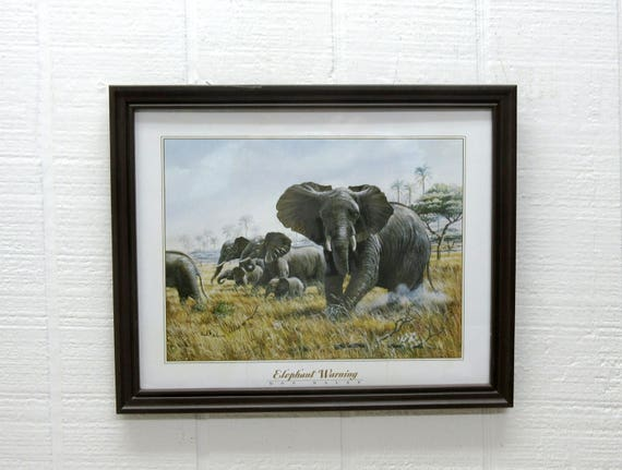 Vintage Elephant Warning Print Don Balke Framed Art Print
