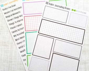 Bullet Journaling Boxes // Categories (Set of 7 Boxes) Item #358