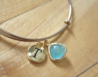 Gold Bangle Bracelet, Aqua Bracelet, Gold Initial Bracelet, Bridesmaid Gift, Bridesmaid Bracelet Personalized gifts for her best friend gift