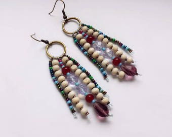 Long Bohemian earrings bronze earrings