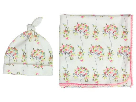 Newborn Swaddle Set Swaddle Blanket Top Knot Hat Knot Headband Floral Aqua Pink Pom Pom Blanket Jersey Swaddle Baby Blanket