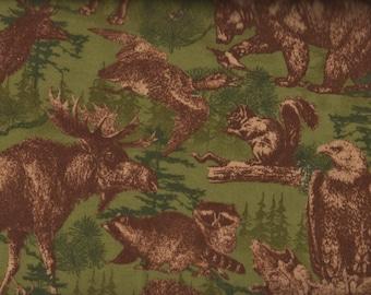 Fat Quarter, Moose Fabric, Timber Lodge by Robert Kaufman, Flannel, Wildlife Fabric, 05126
