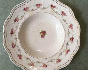 Smith Phillips Semi Porcelain soup bowls shabby chic, floral, roses