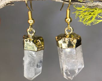 Gold Plated Quartz Earrings