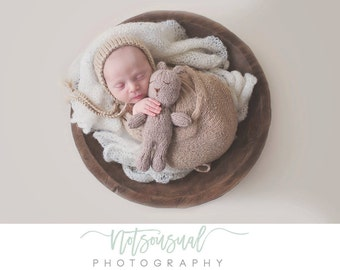 Beige Newborn Hat, Beige Alpaca Bonnet, Knit Alpaca Newborn Bonnet, Neutral Knit Newborn Hat, Great Newborn Photography Prop