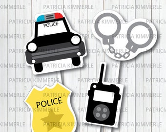Centerpiece Printable, Policeman, Police Car, Police Badge, Hero, Police Department, Police Party, Baby Shower, Graduation, INSTANT DOWNLOAD