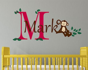 Monkey wal decal children wall decal - Monkey wall art wall decal for Nursery, kids room. Cuter Jungle and Safari