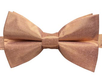 Men's Bow Tie, Bow Tie for Men, Luxury 100% Pure Silk Bow Tie, Rose Gold Bow Tie