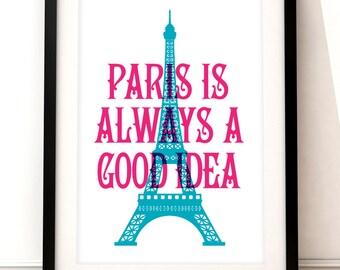 Paris travel print, Paris art print, Paris inspired print, typographic print, travel poster, typographic art, Paris poster art, Eiffel Tower