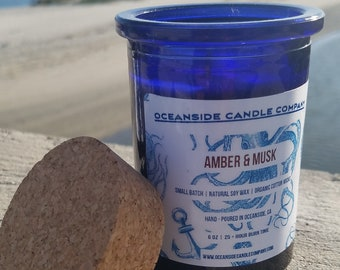Amber & Musk - 6 oz Blue Glass Jar - Soy Candle