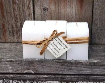 SALE: Trio of Peppermint Scented Small Square Pillar Candles