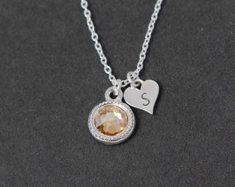 Citrine Necklace, Custom Mothers Jewelry, November Birthstone Jewelry, Dainty Initial Necklace Heart, Mothers Necklace Silver