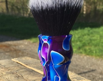 Custom Handcrafted Freezing Water Shaving Brush. Shown with a 24mm Black Tuxedo synthetic Badger knot.