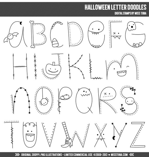 Halloween Letter Doodles Digital Stamps Clipart Clip Art