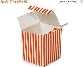 Mothers Day Sale 6 Pack Orange and White Stripe Paper Tuck Top Style Packaging Retail Gift Boxes 3.25X3.25X3.25 Inch Size