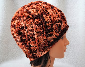 merino wool/hand dyed/crochet adult hat/beanie