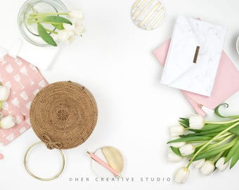Styled Stock Photography | Flatlay Image | Spring Tulips and Purse 3 | Styled Photography | Digital Image