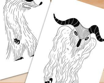Illustration Print A6 Postcard Monsters
