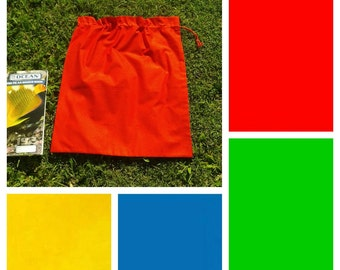 Large cotton drawstring bag, choice of 4 primary colours, for toys, books, classroom