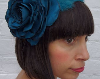 Turquoise vintage suede look recycled rose flower headpiece fascinator with feather wing