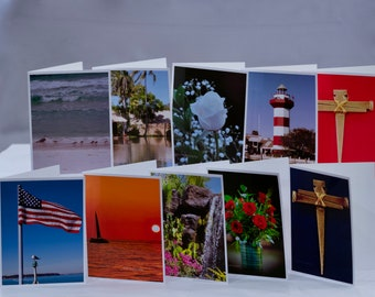 Photography blank note cards set of 10, all occasion with white envelopes