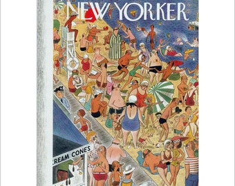 """Vintage The New Yorker Magazine Cover Poster Print Art, 1939 Matted to 11"""" x 14"""", Item 4053 Beach"""
