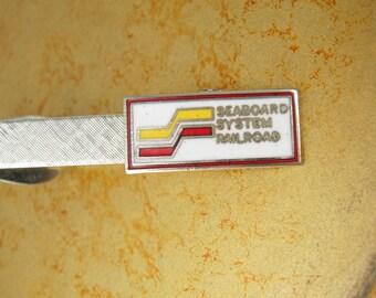 Seaboard Systems Railroad Industrial Tie Clip Vintage Enamel Advertising Conductor Engineer