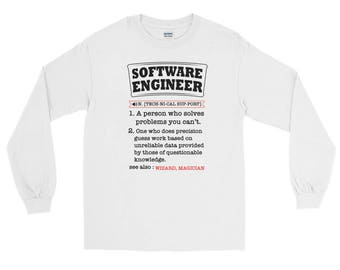 Funny Softeware Engineer Definition  long sleeve t-shirt --Funny Computer Nerd Gift T-Shirt