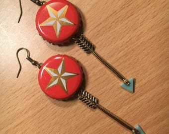 Lonestar Bottle Cap Earrings w/ Arrows