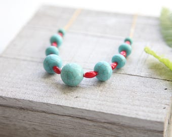 Turquoise and Red Pendant Necklace, Pretty in Pink Necklace, Pink Necklace