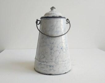 French Enamel Milk Pail - French Vintage Milk Pail - Milk Pail - French Enamelware - Vintage Pitcher - Vintage Vase - French Kitchen