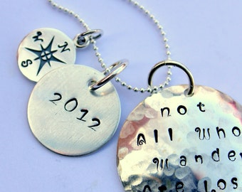 High School Graduation, Not All Who Wander Are Lost Custom Necklace, Graduation, Sterling Silver Compass Necklace,  2012 Grad