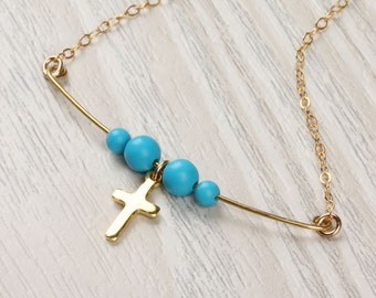 Turquoise bar necklace / Gold cross necklace / Gold filled cross necklace / Beaded necklace / Tiny cross pendant / Cross jewelry    Aia