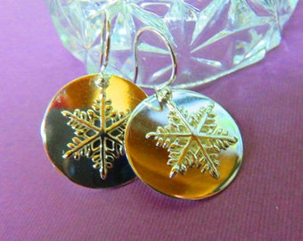 Snowflake Earrings - All Silver Snowflake Dangle Earrings - Perfect Gift for the Individualist on Your Gift List