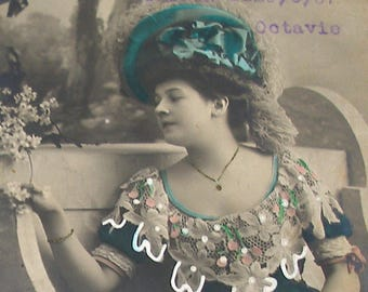 1907 French postcard, Lady with green hat. RPPC real photo postcard, paper ephemera