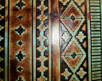 """Leather 8""""x10"""" Sea Foam and Mocha NAVAJO Tribal Southwestern Embossed Cowhide 2.5-3 oz /1-1.2 mm PeggySueAlso™ E2400-02 Full hides available"""