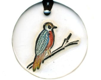 Perched Birdie Ceramic Necklace