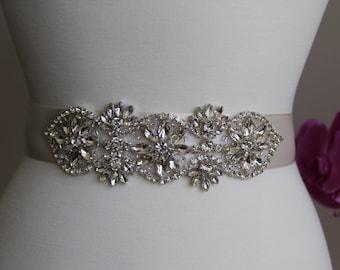 Elegant and gorgeous rhinestone detailed bridal sash, wedding sash, bridal belt, rhinestone belt, rhinestone sash, rhinestone applique