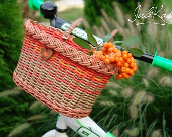 "Bicycle basket children Bike accessories ""Forest Fairy's basket""  Wicker basket for Bike  Red basket  Gift for cyclist  Bike bag"