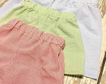 Seersucker Shorts for BABY/TODDLER, boys seersucker shorts, baby seersucker shorts, beach seersucker shorts, boy beach shortd