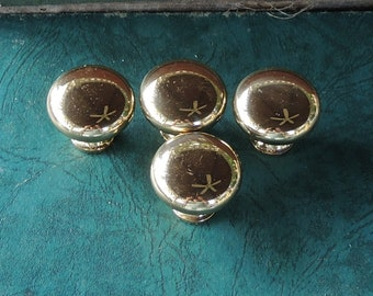 Set of 4 Shiny Brass Knobs Cabinet Pulls Furniture Restoration Home Improvement