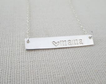 Mama Bar Necklace, Sterling silver Nameplate Necklace, Mothers Day Gift, New Mom jewelry, Hand stamped necklace, gift for mom, gift for wife